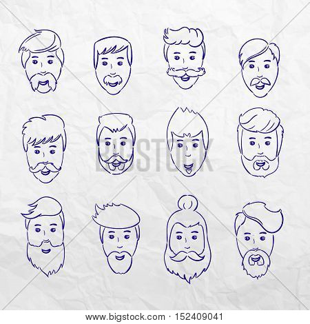 Hairstyles beard and hair face cut young man doodle cartoon collection. Vector male sketchy illustration. Modern hairstyles icons