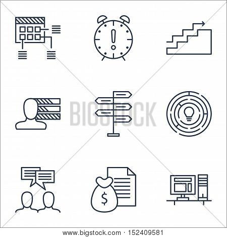 Set Of Project Management Icons On Opportunity, Discussion And Growth Topics. Editable Vector Illust