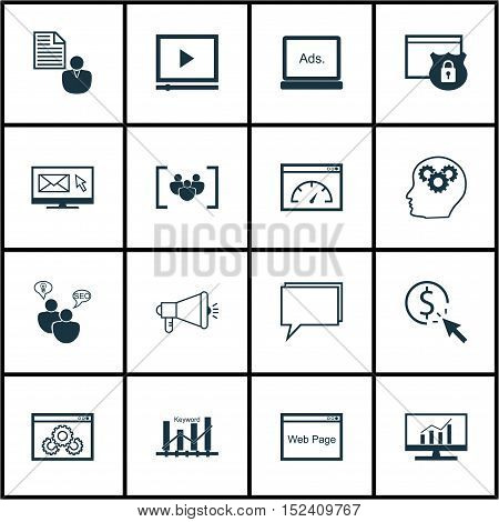 Set Of 16 Universal Editable Icons For Seo, Advertising And Marketing Topics. Includes Icons Such As
