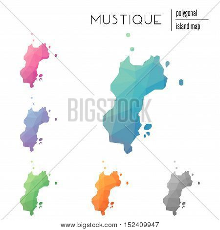 Set Of Vector Polygonal Mustique Maps Filled With Bright Gradient Of Low Poly Art. Multicolored Isla