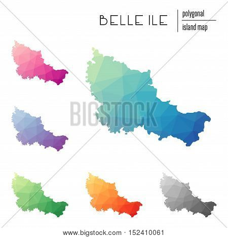 Set Of Vector Polygonal Belle Ile Maps Filled With Bright Gradient Of Low Poly Art. Multicolored Isl