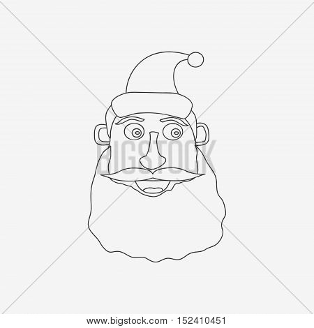 Santa Claus line monochrome icon on white background. Vector illustration.