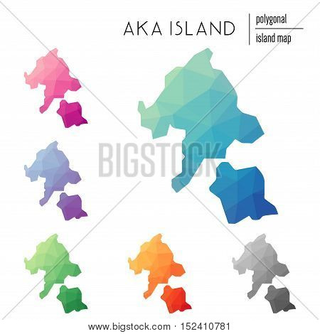Set Of Vector Polygonal Aka Island Maps Filled With Bright Gradient Of Low Poly Art. Multicolored Is