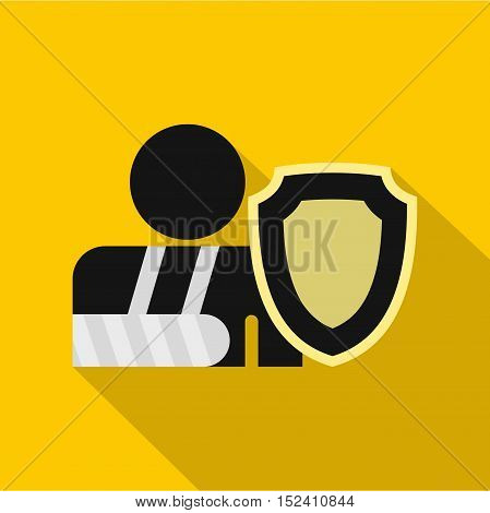 Broken hand and safety shield icon. Flat illustration of broken hand vector icon for web isolated on yellow background