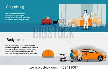 Flat horizontal banners with scenes represented by the workers of car painting and auto body vector illustration