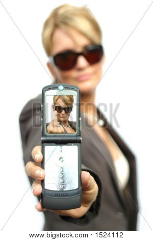 A Beautiful Business Woman With Phone - You Display