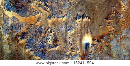 Abstract photography of landscapes of deserts of Africa from the air, flames sand,