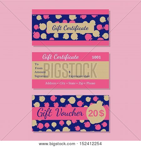 Set of templates gift certificate. Design idea of front back side bonus voucher. Discount coupon letterhead, promotional card background. Organized layers easy to edit. Vector illustration