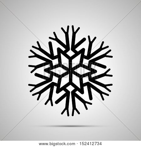 Complicated snowflake simple black icon with shadow