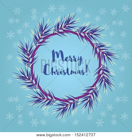 New Year concept.  Happy holiday congratulation greeting card. Christmas wreath frame. Cartoon retro style. Decorative season symbol. Design idea festive party banner background. Vector illustration