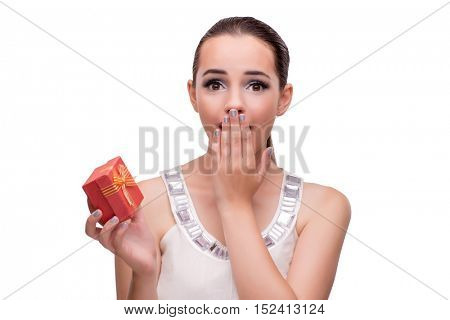 Young woman with giftbox isolated on white background