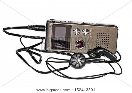 Voice recorder with headphones on white background