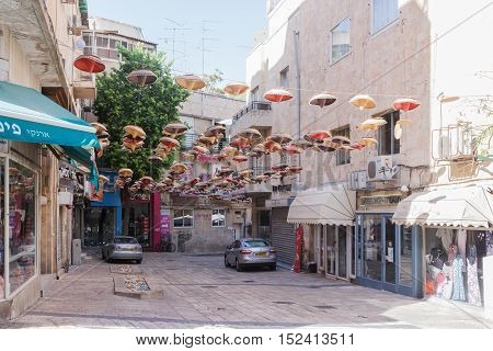 Street Hakarmel Decorated With Mexican Sombrero Hats In Jerusalem, Israel