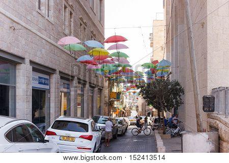Street Moshe Salomon Decorated With Colorful Umbrellas In Jerusalem, Israel