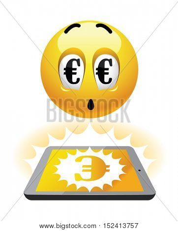 Freelance earning. Illustration of smileys earning over the net. Work from home.