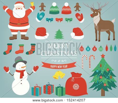 Christmas items, elements and decorations set. Hand drawn. Vector illustration