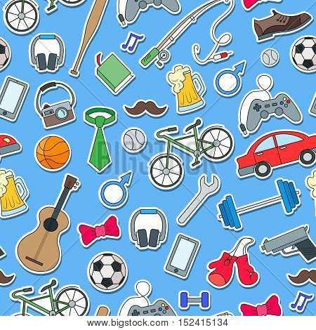 Seamless pattern on the theme of male Hobbies and habitssimple hand-drawn icons on blue background