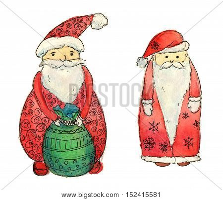 Set of Santa Clause. Funny Santa. New Year Greeting Card. Christmas watercolor background. Cartoon Santa watercolor illustration. Delivery of New Year gifts. Santa's Sack. Christmas Delivery Service - work clipping path