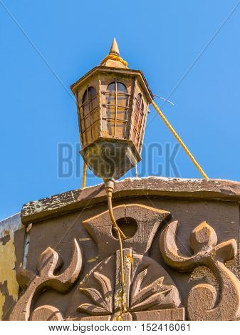 The ship lamp aft old sailing vessel