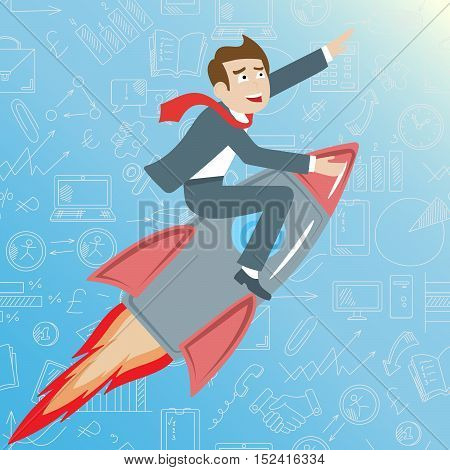 Businessman riding a rocket goes up on a blue background with icons on a theme business the concept of success