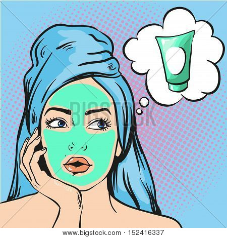 Woman with beauty cosmetic mask on face. Vector illustration in pop art comic style.