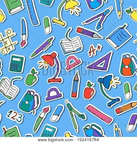 Seamless pattern on the theme of the school a simple hand-drawn color icons on blue background
