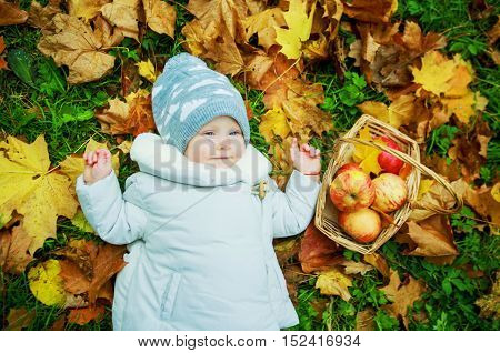 happy baby having a picnic in the autumn park