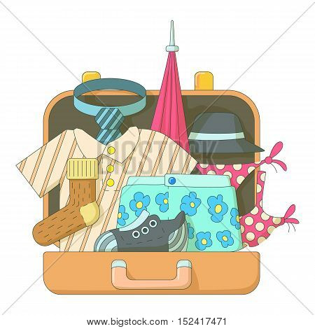 Suitcase with clothes icons set. Flat illustration of suitcase with clothes vector icons for web
