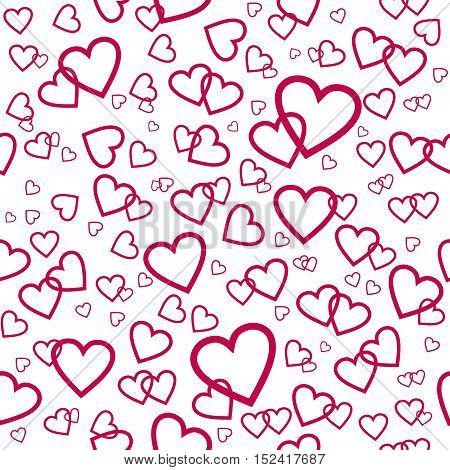 Vector seamless pattern with pink hearts. Cute background for wedding, valentine's day design