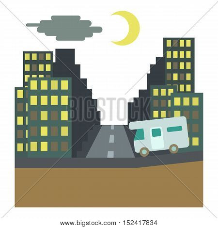 Camper rides at night in city concept. Flat illustration of camper rides at night in city vector concept for web