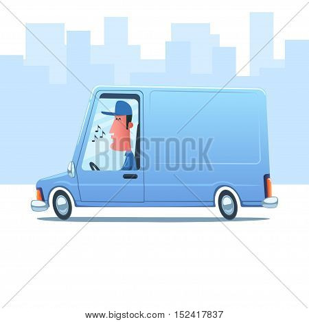 Cartoon whistling man driving a service van against the background of city.