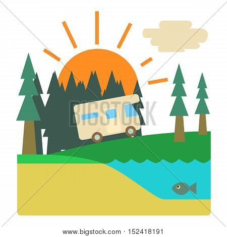 Trip by camper in forest concept. Flat illustration of trip by camper in forest vector concept for web