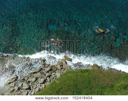 Looking down at the cliffs, reefs, and waves on guam