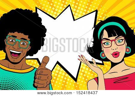 Wow couple faces. Sexy happy young surprised african man and european woman with open mouths and empty speech bubble. Vector colorful cartoon background in pop art comic retro style.