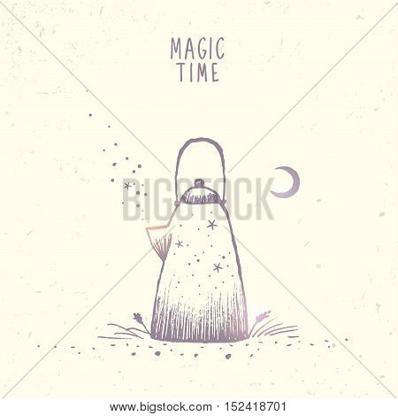 Beautiful doodle silhouette of magic kettle with stars and moon. Hand drawn sketch. Stylish vector illustration