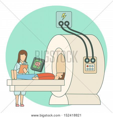 Tomography of human brain in hospital concept. Flat illustration of tomography of human brain in hospital vector concept for web