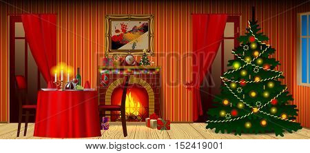 Holiday interior with fireplace, gifts and decorated christmas tree. Xmas and New Year mug design. Vector illustration