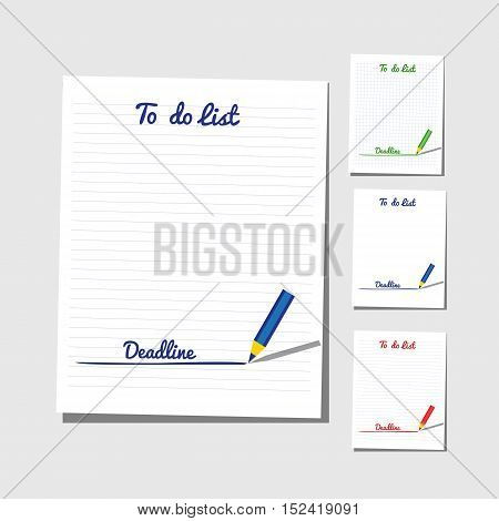 Flat identity to do list set. Checklist concept. Four variants and colors of planner and pencil. Isolated on white. Template blank sheet of paper for memo writing with deadline. Vector illustration.