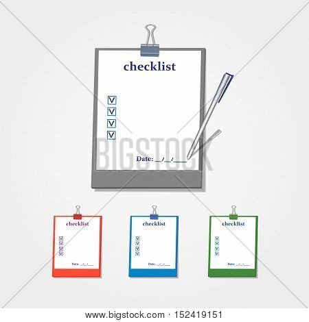 Flat identity Checklist set four colors. Paper on clipboard. To do mark and check box icon for data saving. Template for design of compliance banner with schedule agenda. Vector illustration.