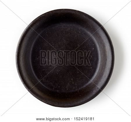 Black empty bowl isolated on white background top view