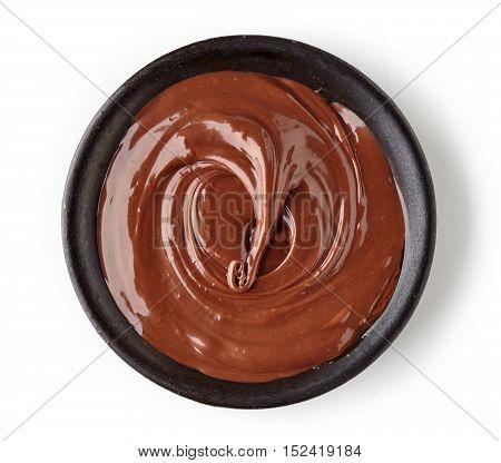 Chocolate Cream In Round Dish Isolated On White Background