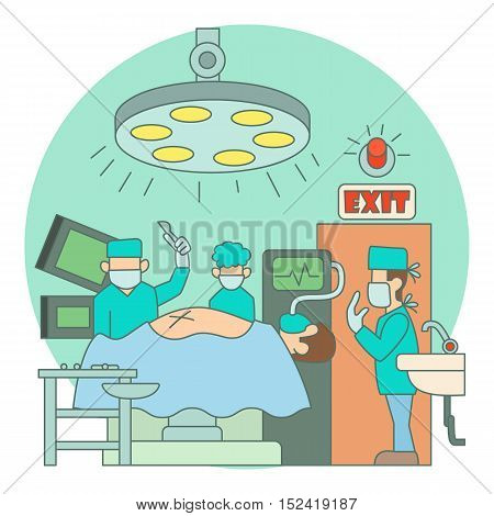 Surgical operation in hospital concept. Flat illustration of surgical operation in hospital vector concept for web