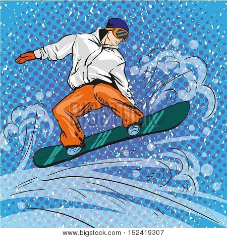 Man snowboarding in mountains. Vector illustration in pop art retro style. Winter sports vacation concept. Sportsman jump with snowboard.
