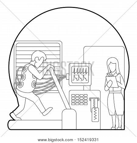 Medical testing person on treadmill concept. Outline illustration of medical testing person on treadmill vector concept for web