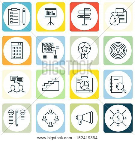Set Of Project Management Icons On Presentation, Analysis And Decision Making Topics. Editable Vecto