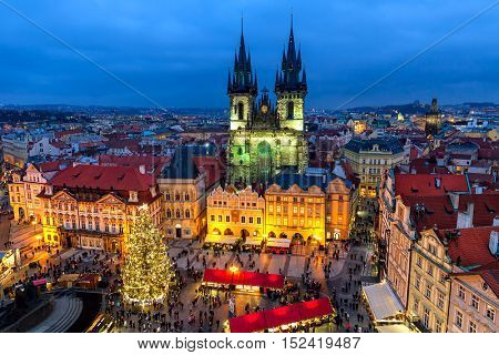 PRAGUE, CZECH REPUBLIC - DECEMBER 10, 2015: Evening view of traditional Christmas market at Old Town Square in Prague - popular tourist destination, fifth most visited European city.
