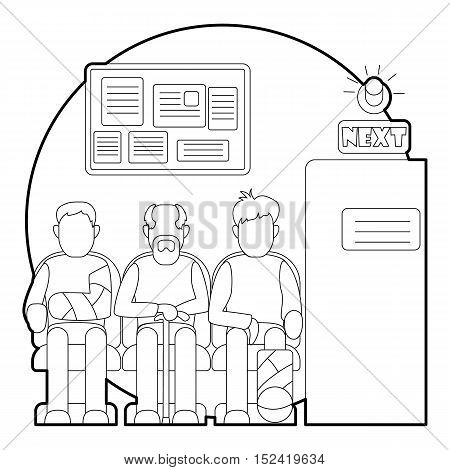 Turn to doctor in hospital concept. Outline illustration of turn to doctor in hospital vector concept for web