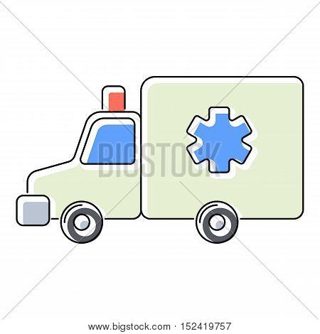 Ambulance icon. Flat illustration of ambulance vector icon for web isolated on white background
