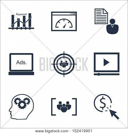 Set Of Seo Icons On Brain Process, Ppc And Focus Group Topics. Editable Vector Illustration. Include