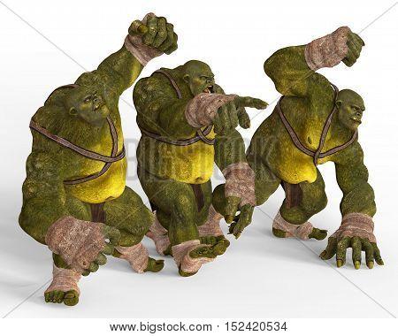 Ogres Monsters 3D Illustration Isolated On White